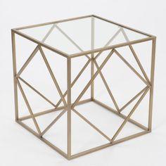Mesa auxiliar baja de metal y cristal cuadrada abstracta dorado