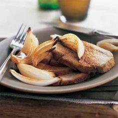 Honey-Cumin Roasted Pork with Caramelized Onions | MyRecipes.com: October