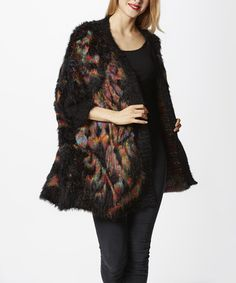 Look what I found on #zulily! Black Multi-Color Abstract Plush Open Cardigan - Women #zulilyfinds