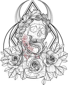 Skull Tattoo Flowers, Skull Tattoos, Black Tattoos, Body Art Tattoos, Sleeve Tattoos, Tattoo Sketches, Tattoo Drawings, Tattoo Designs, Dibujos Tattoo