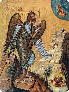 Ikonenmalerei: John the Baptist. Art Print, Canvas on Stretcher, Framed Picture Paint Icon, Byzantine Art, John The Baptist, Orthodox Icons, Religious Art, Saints, Art Prints, Christians