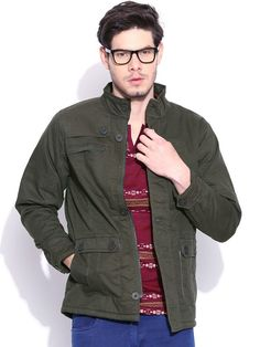 Flat 25% OFF on Duke Winter Collection Solid Olive Full Sleeve Hooded Chester Jacket by Returnfavors