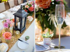 A golden sparkly runner, classic black lanterns, and personalized champagne glasses. Sweetest details!  Rancho Valencia Wedding | Holly and Brian, Photography by Clove & Kin. View More: http://cloveandkin.com/blog/rancho-valencia-wedding-holly-brian/