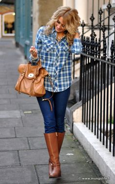 Cute plaid shirt with denim jeans, and those boots are so cute! Great for going out with friends.