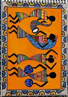 Madhubani Art, Madhubani Painting, Worli Painting, Rajasthani Art, Indian Folk Art, Indian Art Paintings, Art Drawings For Kids, Mandala Art, Tribal Art