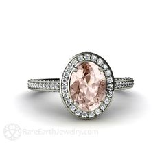 Morganite Engagement Ring with Oval Diamond Halo – Rare Earth Jewelry