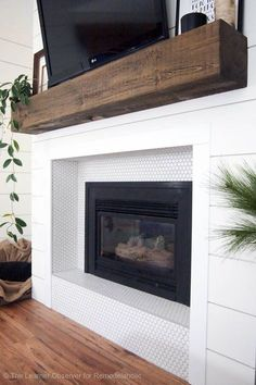 Staggering Ideas: Living Room Remodel With Fireplace Joanna Gaines living room remodel ideas benjamin moore.Living Room Remodel Ideas Diy living room remodel with fireplace wall colors.Living Room Remodel On A Budget Builder Grade. Wood Mantle Fireplace, White Fireplace, Farmhouse Fireplace, Fireplace Remodel, Fireplace Surrounds, Fireplace Design, Fireplace Ideas, Fireplace Modern, Craftsman Fireplace