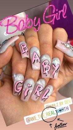 Edgy Nails, Grunge Nails, Dope Nails, Swag Nails, Crazy Nails, Baby Girl Nails, Girls Nails, Baby Nail Art, Graffiti Nails