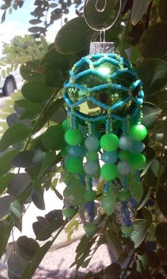 Green and Blue Glow in the Dark Ornament, suncatcher, by DustDevilTreasures on Etsy