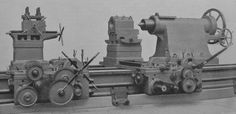 This is another 1913 gun lathe from Armstrong Whitworth's Openshaw swing, 80 ft between centres.The 'tool post' nearest the tailstock is for supporting a diameter boring bar.For quick movement of the tailstock barrel the la Fabrication Tools, Industrial Machinery, Page 3, Machine Tools, Car Manufacturers, Blacksmithing, Cannon, Military Vehicles, Metal Working