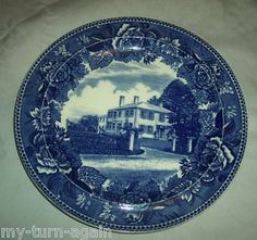 Antique wedgewood Blue and white Plate.Ralph Waldo Emerson Home ..1900