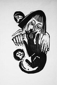 Ernst Ludwig Kirchner - Frau mit katze / Woman with cat , Original woodcut… Ernst Ludwig Kirchner, Alphonse Mucha, German Expressionism Art, Ex Libris, Tattoo Foto, Degenerate Art, Illustration, Dresden, Cat Art