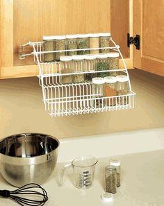 Rubbermaid Pull Down Spice Rack-- for medicine the cabinet Modern Kitchen Cabinets, Kitchen Cabinet Design, Kitchen Storage, Kitchen Decor, Kitchen Dining, Kitchen Stuff, Kitchen Ideas, Spice Shelf, Spice Storage