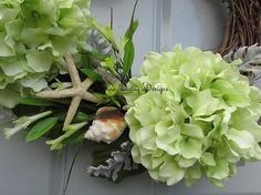 Hydrangea Wreath Seashell Wreath Beach by SilvaLiningDesigns