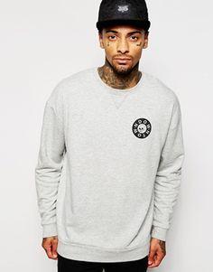 ASOS Oversized Sweatshirt With Chest & Hem Print