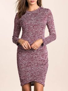 Purple Long Sleeve Bodycon Dress -SheIn(Sheinside)