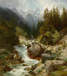 """art-and-things-of-beauty: """" Johann Gottfried Steffan - Mountain stream in the area of Partenkirchen, oil on canvas, 122 x 108 cm. Beautiful Paintings Of Nature, Nature Paintings, Landscape Quilts, Landscape Art, Landscape Paintings, Landscapes, Pictures To Paint, Nature Pictures, Gardens"""