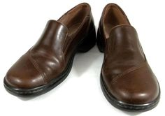 Clarks Loafers Solid Brown Leather Slip On Shoes Womens Size 9 M #Clarks #LoafersMoccasins