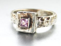 Sterling silver hammered ring with pink sapphire by ValerieKStudio, $63.00