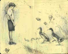 This is one of Australia-based artist Rod Luff's wonderful sketchbook works, simply called Child. from sketchesandjottings.wordpress.com