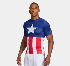 """Men's Under Armour® """"Captain America"""" Alter Ego Compression Shirt This has my little brother written all over it. Alter Ego, Superhero Leggings, Captain America Shirt, Armor Shirt, Tactical Clothing, Future Clothes, Under Armour Men, Sport Wear, Workout Wear"""