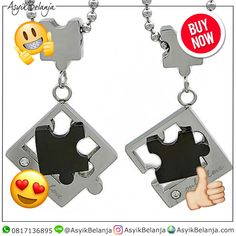Kalung Couple Puzzle Pieces (SKU859) ✅Steel 316L Titanium ✅3.9cm x 2.4cm x 3mm (Kiri) | 3.9cm x 2.4cm x 3mm (Kanan) ✅Rp. 285rb  AsyikBelanja.com The perfect companion for your fashion & style WA: 0817136895 IG: AsyikBelanja Line: @AsyikBelanja  #jualkalung #kalung #kalungfashion #kalungcantik #kalungpesta #kalungunik #liontin #kalungcouple #kalungcouplemurah #kalungcoupletitanium #kalungpasangan #liontincouple #liontinpasangan Puzzle Pieces, Personalized Items, Couples, Style, Fashion, Swag, Moda, Fashion Styles, Couple