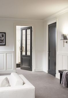 Painted Interior Doors, Black Interior Doors, Black Doors, Black Hallway, Small Apartment Interior, Modern Mountain Home, Classic Interior, Staircase Design, Small Apartments