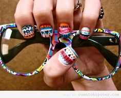 aztec and tribal prints Cute Nails How To Do Nails, Fun Nails, Pretty Nails, Crazy Nails, Hard Nails, Sexy Nails, Hippie Style, My Style, Tribal Style