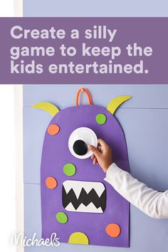 Celebrate Halloween with this fun DIY game for the kiddos. Make this silly monster, then either use a blind-fold or have the kids close their eyes and try to stick the eyeball on him!