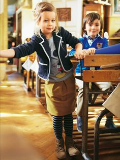 Check out this prep school look! New girl's pleated skirt pattern for sale on Burda Style. #sewing #kids