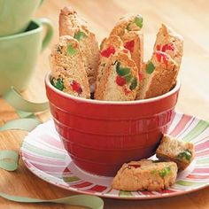 Almond Cherry Biscotti Recipe photo by Taste of Home . Cherry Biscotti Recipe photo by Taste of Home . Galletas Cookies, Candy Cookies, Holiday Cookies, Biscotti Cookies, Sugar Cookies, Italian Cookies, Italian Desserts, Italian Recipes, Italian Foods