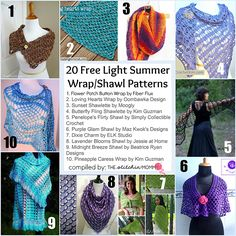 20 Free Light Summer Wrap/Shawl Patterns compiled by The Stitchin' Mommy   www.thestitchinmommy.com