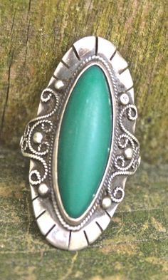 vintage turquoise ring - 1930s-40s Mexican sterling silver/turquoise cocktail ring