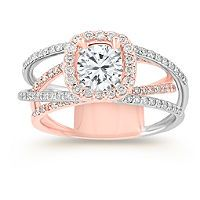 Halo Diamond Engagement Ring in 14k Rose and White Gold with Pave Setting    Love the multi band!