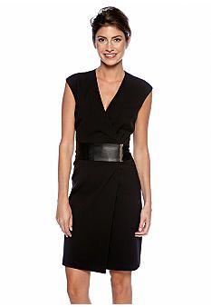 Calvin Klein Cap-Sleeved Crossover V-Neck Faux Wrap Dress