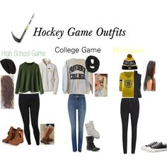 Hockey Game Outfits on Polyvore featuring Patagonia, Chicwish, '47 Brand, Puffa, Levi's, Cheap Monday, M&Co, Paula Bianco, David & Young and Converse