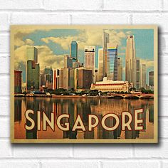 Singapore Skyline Vintage Travel Poster - Instant Download. Printable Wall Print from VintagePosterDesigns.com.