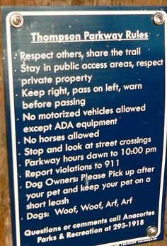 Typical rules sign