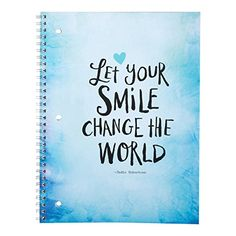 """DaySpring Spiral Bound Notebook, One Subject - 8"""" x 10 1/2"""", Let Your Smile Change the World (76153) Dayspring http://www.amazon.com/dp/B0105H4L7A/ref=cm_sw_r_pi_dp_sWRYvb1XPX1K9"""
