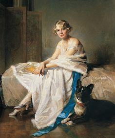 Charles Joseph Watelet, An Elegant Lady With her French Bulldog in an Interior.