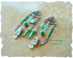 Rustic Boho Angel Wing Earrings, Bohemian Jewelry, Found Objects, Stone Assemblage Earrings, Boho Style Me, Kaye Kraus by BohoStyleMe on Etsy