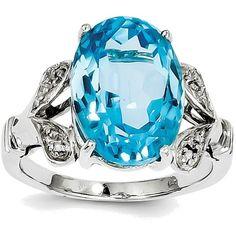 Sterling Silver Rhodium Oval Light Swiss Blue Topaz Diamond Cutout... (2.065.130 IDR) ❤ liked on Polyvore featuring jewelry, rings, oval ring, swiss blue topaz jewelry, rhodium jewelry, diamond jewelry and diamond jewellery