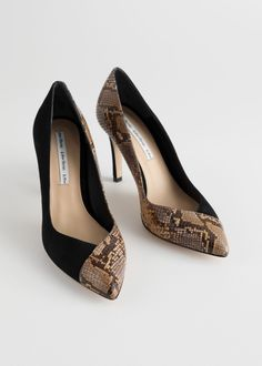 6a3b91902df3 Front image of Stories snake overlap stiletto pumps in black Camel Pumps