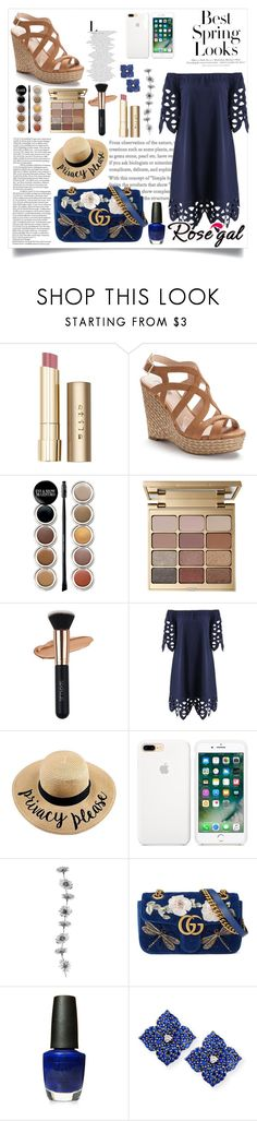 """""""Bye Spring"""" by essentiallyessence ❤ liked on Polyvore featuring Stila, H&M, Jennifer Lopez, Giorgio Armani, Gucci, OPI and Piranesi"""