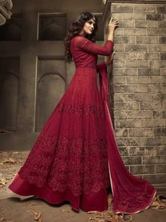 Buy Auspicious Red Color Satin Designer Anarkali Suit Indian wedding salwar suits online in USA, UK, Canada, and Australia from VJV Fashions by designer Maroon Gowns, Maroon Dress, Eid Dresses, Dresses Online, Fashion Dresses, Flapper Dresses, Designer Anarkali Dresses, Designer Dresses, Bridal Gown Styles