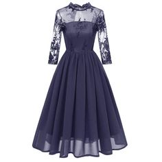 Women's Half-high Collar Embroidered lace Dress Seven-Point Sleeve Dress