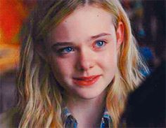 """I just love the expression on her face here. Someone just told her """"I love you"""" and you can clearly tell so many things are running through her head and she's too surprised to speak. Well done, Elle Fanning."""