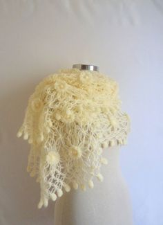 shawl  Bride White Flower  Flowered Accessories by modelknitting, $62.90