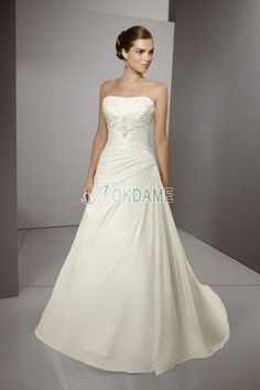 Perlenbesetztes trägerlos normale Taille ärmelloses Brautkleid mit Falte Mieder mit Bordüre