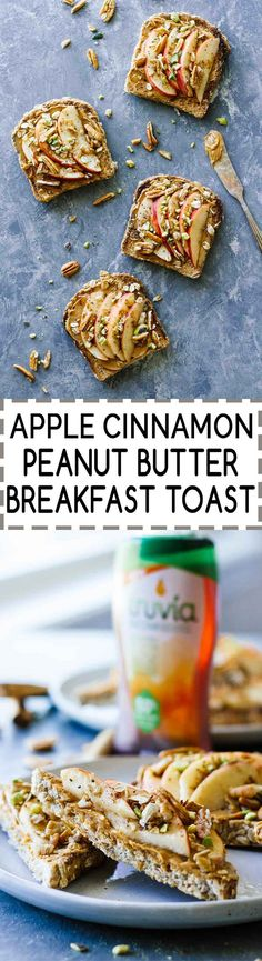 Apple Cinnamon Peanut Butter Breakfast Toast! The BEST breakfast/pre-workout/post-workout meal. Vegetarian, healthy, and drizzled w/ a little sweetener! All clean eating ingredients are used for this healthy toast recipe. Pin now to make for breakfast later.